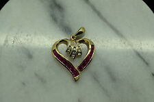 10K YELLOW GOLD PINK RUBY & DIAMOND OPEN HEART PENDANT CHARM #X10-1058