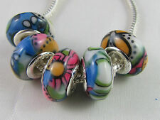 5 x 925 SILVER STAMPED TOP GRADE ACRYLIC BEADS FOR EUROPEAN STYLE CHARM BRACELET