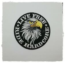 LIVE FREE RIDE HARDCORE Patch Sew Iron On Embroidered Skull Biker Slogan Vest