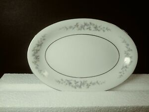 Forget Me Not Blue Relish/Gravy Boat Underplate Dish Japan Platinum Trim