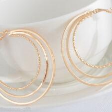 HX 1Pair Earrings Hoop Dangle Drop Vogue Three Layers Jewelry Light Golden