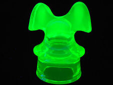 Green Vaseline glass insulator uranium Hemingray mickey mouse style miniature NR