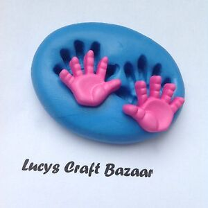 Silicone Mould Baby Small Hands Chocolate Flowerpaste Cupcake Topper Sculpey Ice