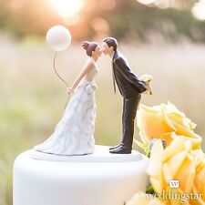 Leaning In For A Kiss Bride With Balloon Porcelain Wedding Cake Topper