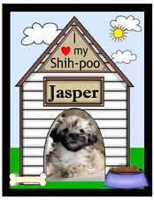PERSONALIZED SHIH-POO DOG PHOTO MAGNET ~ DOGHOUSE DESIGN