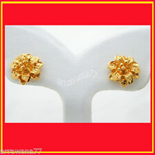 22K 23K THAI YELLOW GOLD GP FLOWER EARRINGS JEWELRY E45