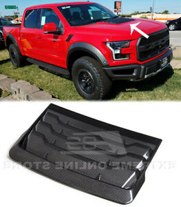 CARBON FIBER Hood Vent For 17-Up Ford Raptor Front Louver F-150 Factory Style