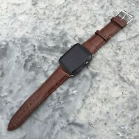 BROWN GENUINE LEATHER Crocodile Croc Strap Band for Apple Watch iWatch 38mm/42mm