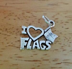 Sterling Silver 18x13mm Says I (heart) Flags Color Guard Charm!