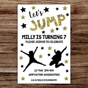 10 *PERSONALISED* party TRAMPOLINE trampolining JUMP invites INVITATIONS