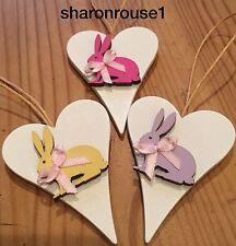 3 X Bunny Rabbit Hanging Decorations Handmade Real Wood Pink Lilac