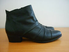 WOMEN'S GINO VENTORI BLACK LEATHER ANKLE HEEL BOOTS - SIZE 36 MADE IN BRAZIL