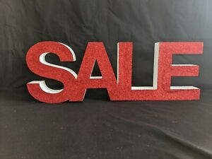 Glittered Red SALE Polystyrene Sign - 200mm x 50mm - Freestanding or Hanging