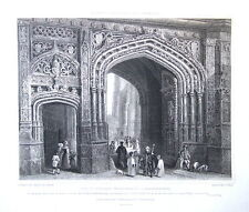CANTERBURY CATHEDRAL CHRIST CHURCH GATE HOUSE, Antique Print 1829