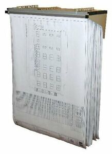 AdirOffice Drop Lift Wall Rack for Blueprints Plans W/ 12 File Hanging Clamps