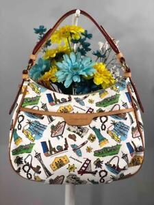 DOONEY & BOURKE Americana Landmark White Leather Hobo Shoulder Bag