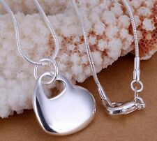 *UK*925 Sterling Silver Plated Heart Pendant 18inch Snake chain