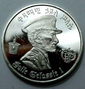 $5 Birr Dollars 1972 Proof Haile Selassie .8037Oz 999 Silver Coin Ethiopia Round