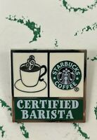 STARBUCKS Certified Barista Lapel Pin Pinback On Holder Enamel & Metal Vintage