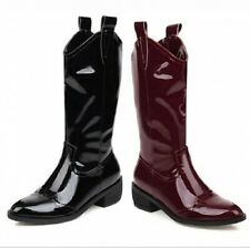 Women Western Patent Leather Cowboy Biker Mid Calf Knight Boots Outdoor Casual L