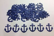 """Nautical Anchors Confetti Lot of 150 Die Cuts in Navy Blue 1"""" H"""
