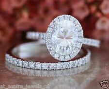2.00ct Oval Cut Engagement Diamond Wedding Band Ring Solid 14ct White Gold