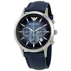 Emporio Armani Classic Chronograph Blue Dial Leather Strap Mens Watch AR2473