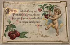 Vintage Postcard H. Wesser Cupid Angel Picking Cherries Valentine's Day