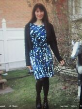 Woman's Blue Multi Colored Silky Abstract Print Faux Wrap Belt Dress Size Small