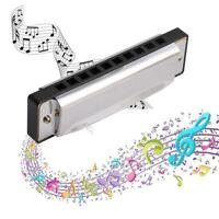 10 Holes Steel Diatonic Musical Instrument 20 Tone Harmonica Blues Key Of C Gift