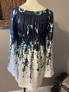 Susana Monaco Tuscana Cape Sleeve Silk Dress Blue White Medium 6 8 10 NWT