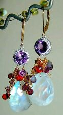 Moonstone Amethyst Garnet Gemstone Briolette Chandelier Earrings Vermeil 925