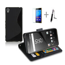 BLACK Wallet 4in1 Accessory Bundle Kit S TPU Case Cover For Sony Xperia Z5