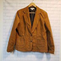 Coldwater Creek Sz 16 Womens Brown Two Button Corduroy Blazer Jacket EUC