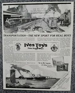 VINTAGE 1919 IVES TOYS TRAINS 100 YEAR OLD ADVERTISEMENT