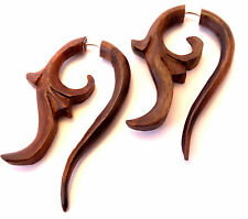 Faux Ecarteur Boucles d'oreilles Piercing Bois Ethnique Gauge Wooden Fake Wood