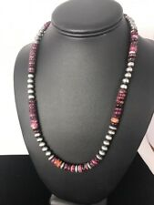 Navajo Pearls Sterling Silver Purple Spiny  Oyster 8 mm Bead Necklace Gift