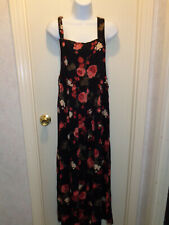 women's summer overall style dress  Size XS loose fit Moda Intl  black floral