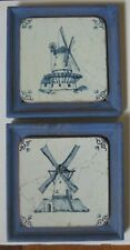 Pair Vintage Delft Hand Painted Windmill Framed Laminated Coaster Wall Art Decor