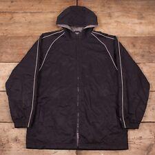 """Mens Vintage Champion Black Quilt Lined Nylon Hooded Jacket Coat Large 44"""" R8415"""