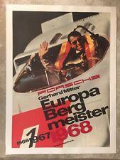 1968 Porsche 907 / 908 Europa Bergmeister Showroom Advertising Sales Poster RARE