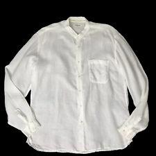 Europann White Linen Shirt Size US 46 or 5 Long Sleeves Buttons Mandarin Collar