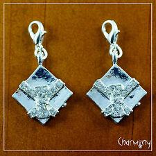 Rhinestone Gift Box clip-on charm ~2pcs~ silver-tone present diamante ribbon