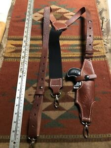 Leather Suspenders w Holster for Cobra Arms American Derringer Metal Clips Used