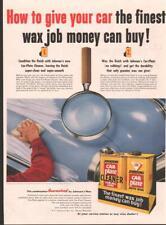 1953 Johnson's PRINT AD Car Wax great office garage man cave decor