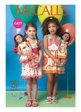 "McCall's Sewing Pattern M7146 Girls Childrens 2-5 Dolls 18"" Matching Sundresses"