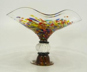 HAND BLOWN GLASS  ART BOWL/SCULPTURE, DIRWOOD, END OF DAY & GOLD SPARKLES, n3639