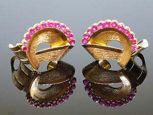 Vintage 1950s 3.5CT Natural Ruby 18K Gold Clip-on Non-Pierced Earrings, 16g