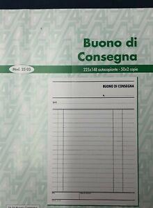10 Blocchi Buoni di Consegna 50x2 formato 22.5x14.8 cm. 2 copie autoricalcanti