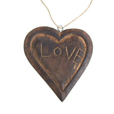 """Hanging """"Love"""" Carved Heart Christmas Tree Ornament, Brown, 4-Inch"""